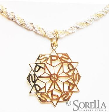 Custom Made Personalized Snowflake Monogram Pendant In 14k Gold