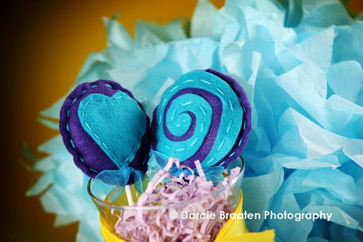 "Custom Made Two Teal And Purple Felt Lollipops ""Plum Pudding''"