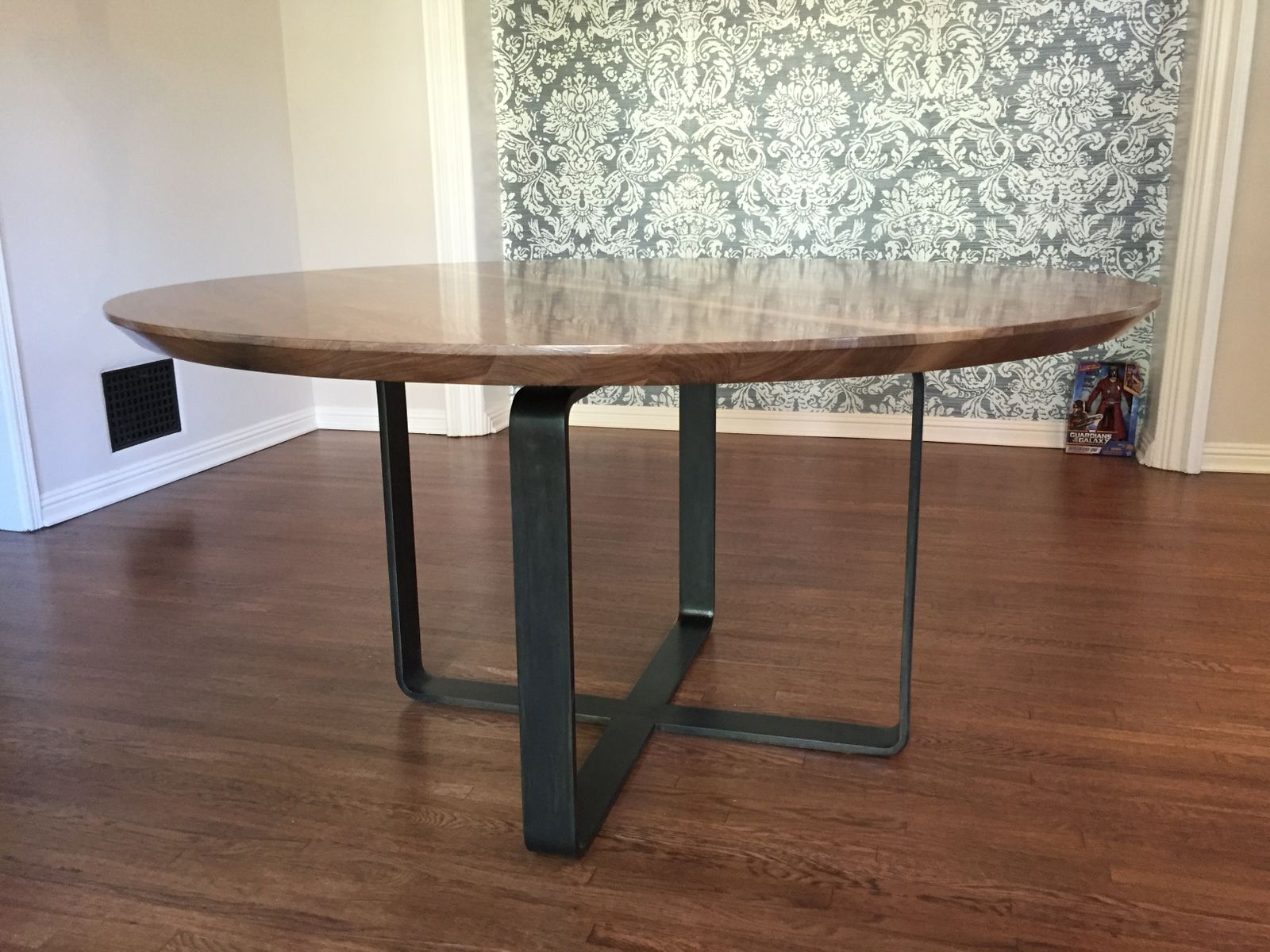 Custom Made Modern Round Walnut Dining Table
