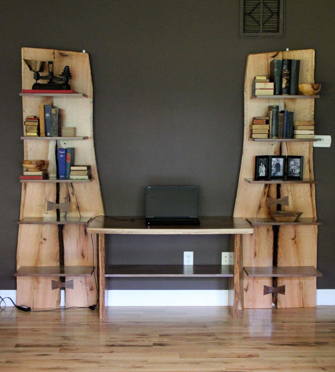 Custom Made Rustic Live Edge Oak Slab Bookcase Built In Desk By Intelligent Design Woodwork