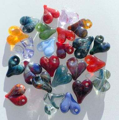 Custom Made Brightly Colored Custom Glass Heart Charm, Baby Heart