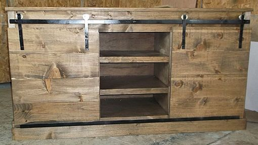 Custom Made Rustic Reclaimed Wood Media Console With Sliding Barn Doors