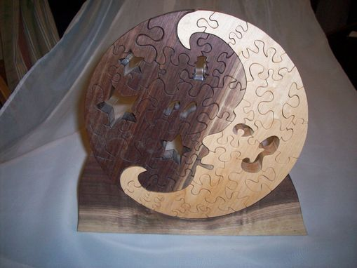 Custom Made Black Walnut And Birds Eye Maple Moon Puzzle W/ Stand.