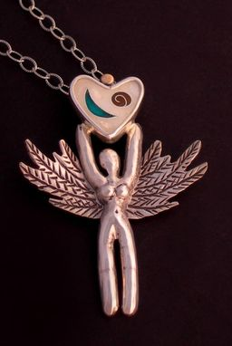Custom Made Enamel Necklace Winged Guardian Angel, Sterling Silver Pendant