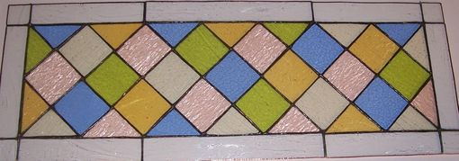 Custom Made Stained Glass Transom Window Panel - Classic Pastel Diamonds (Tw-24)