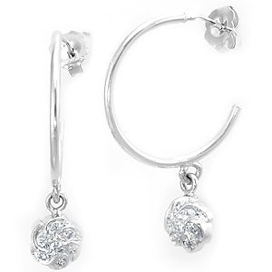 Diamond Flower Charm Hoop Earrings 14k White Gold Las