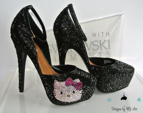 e4264e515bcf Hand Made Bling Black Strass Heels With Hello Kitty