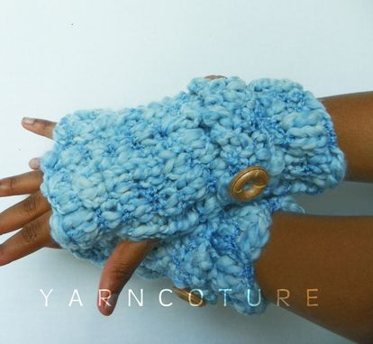 Custom Made Bukni Mitts / In Sky Blue / Fall Winter Fashion Thick And Warm Fingerless Gloves
