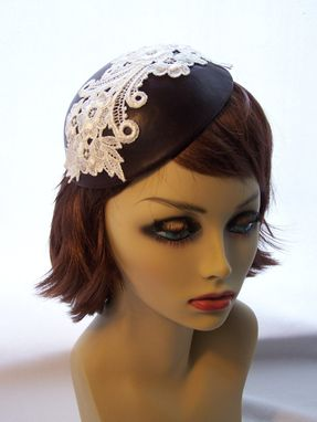 Custom Made Hat/Headpiece Leather And Lace Burgundy