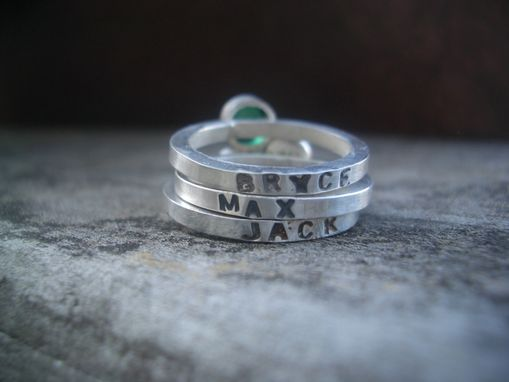 Custom Made Hand Stamped Stacking Ring With Birthstone
