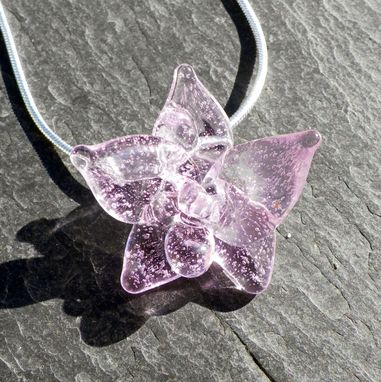 Custom Made Sterling Silver Necklace With Lavender Glass Orchid Pendant