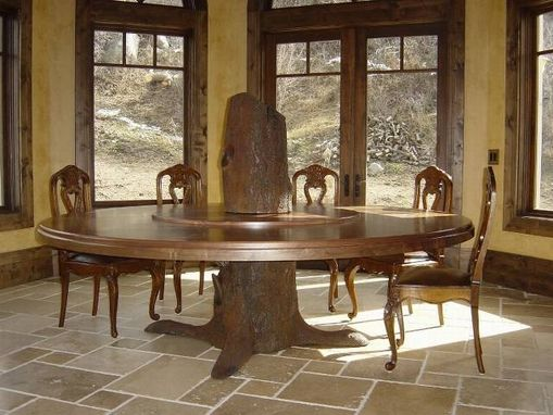 Custom Made Tree Trunk Dining Table, Fabricated Metal Sculpture