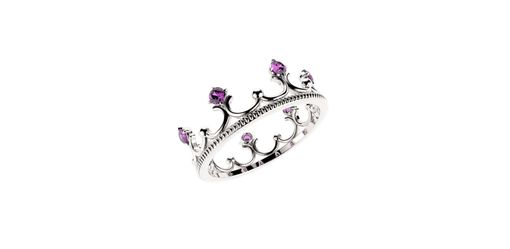 Custom Made 14k White Gold Crown With Amethyst
