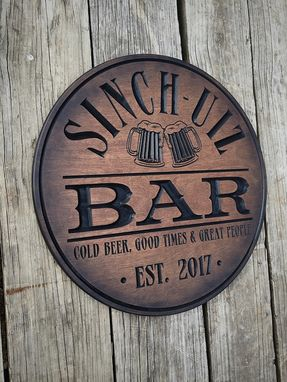 Custom Made Custom Personalized Round Bar Sign.