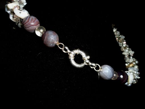 Custom Made White Opal Chip, Rondelle, Glass Bead, Botswanna Agate Necklace