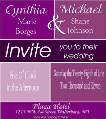 Custom Made 100 Modern Colorful Purple Colorblock Style Wedding Invite Sets