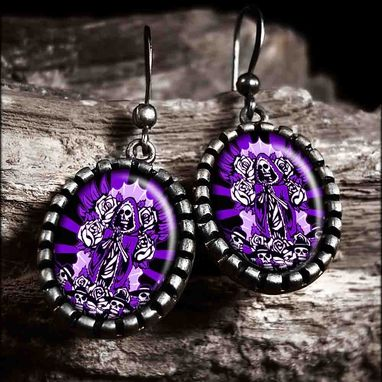 Custom Made Day Of The Dead Purple Guadalupe Antique Silver Earrings 65-Soe