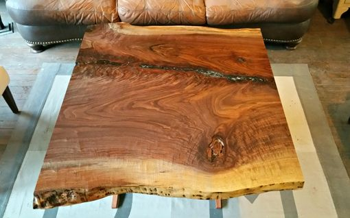 Custom Made Live Edge Walnut And Bubinga Coffee Table