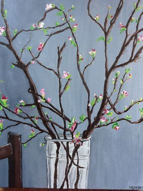 Custom Made Cherry Blossoms On Grey Original Oil Painting