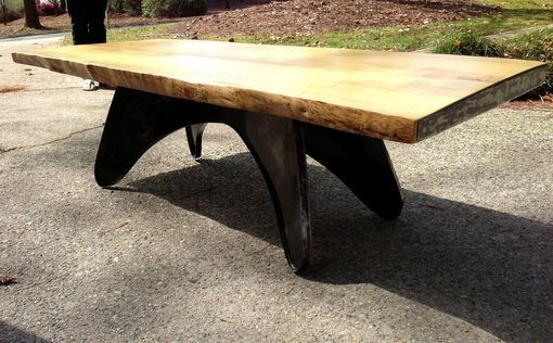 Custom Made Holly And Steel Modern Coffee Table