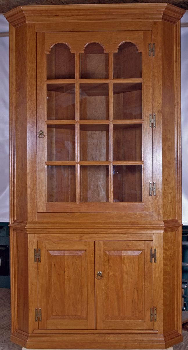 Hand Made Solid Cherry Corner Cabinet By Cedar Row