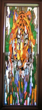 "Custom Made ""Abstract Tiger"" Hanging Stained Glass Panel"