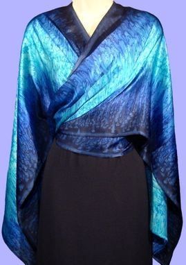 Custom Made Teal and Turquoise Silk Satin Wrap