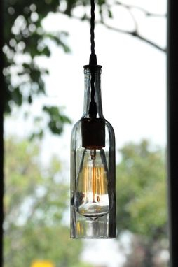 Custom Made Recycled Bottle, Wine Bottle Pendant, Hanging Bottle Pendant, Hanging Lamp With Edison Lightbulb