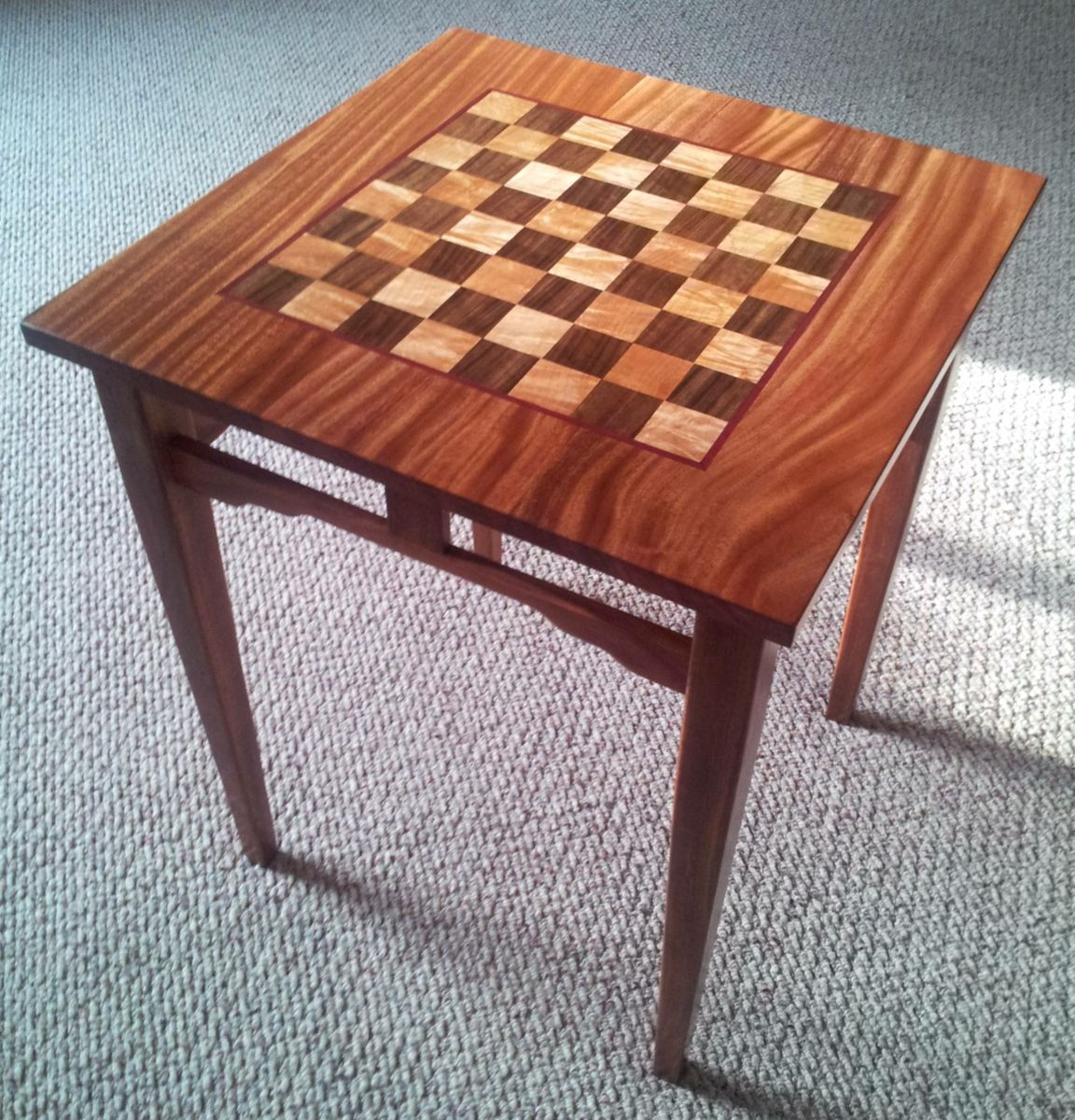 Custom made sapele maple and walnut chess table by reeds custom made sapele maple and walnut chess table geotapseo Image collections