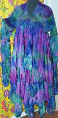 Custom Made Dress In Hand Dyed Silk And Lace With Uneven Scarf Hem And Long Open Sleeve