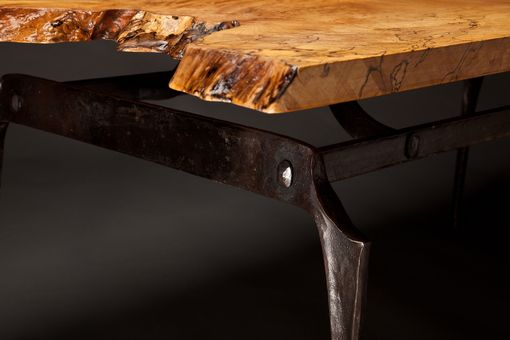 Custom Made Forged Steel And Spalted Maple Coffee Table