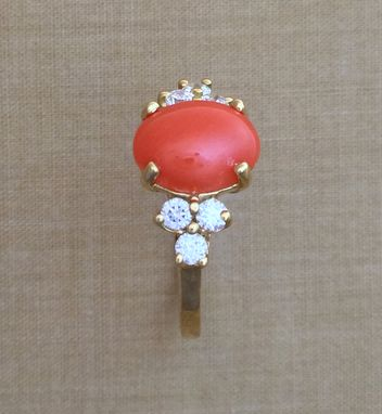 Custom Made Woman's Oval Coral & .71 Ct. Diamond Ring - 18k Yellow Gold