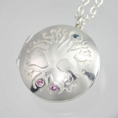 "Custom Made Tree Of Life Locket, Med. With 3 Stones (24"") Sterling Silver"