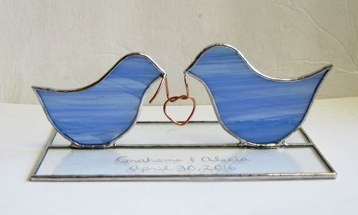 Custom Made Love Birds Tying The Knot- Stained Glass Cake Top/ Candle Holder- Lead Free