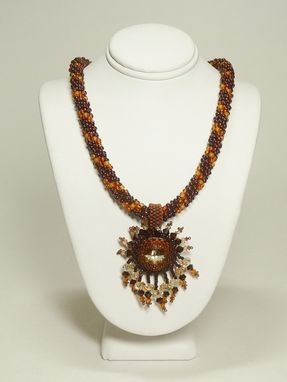 Custom Made Brown And Gold Kumihimo Necklace W/18mm Rivoli Pendant