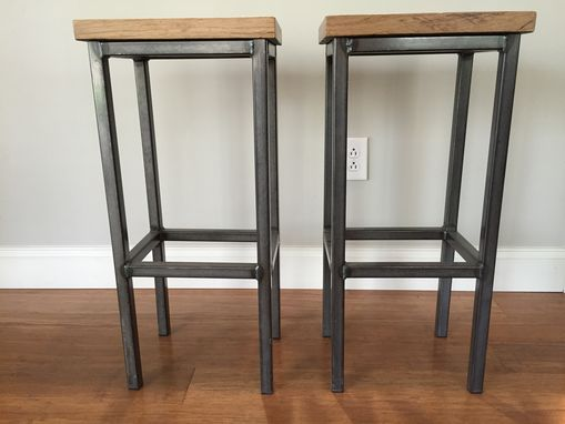 Custom Made Reclaimed Oak Wood Bar Stools W/Steel Frames - Handmade In Denver