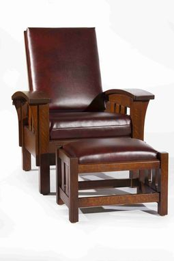 Hand Made Arts And Crafts Bow Arm Morris Chair And Ottoman