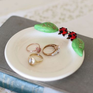 Custom Made Ladybug Pair Ring Dish With Initial And Date Leaves