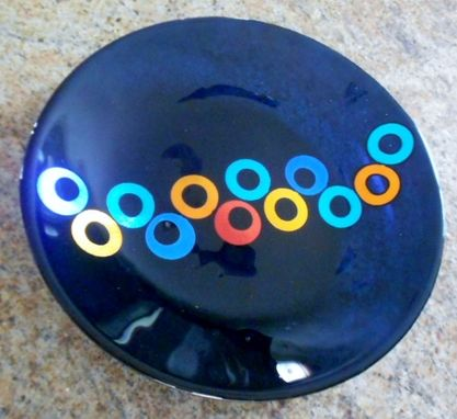 Custom Made Minight Blue Dichroic Circle Bowl