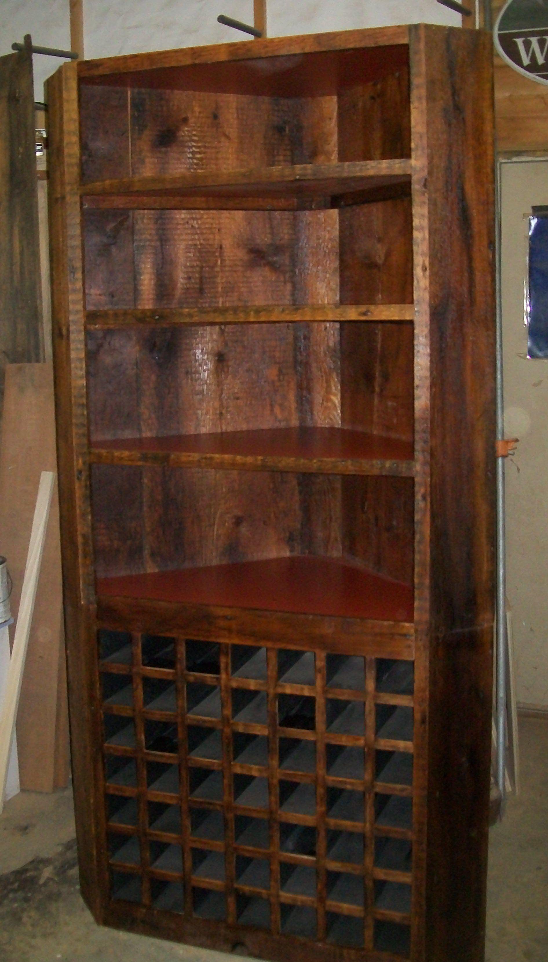 Handmade Reclaimed Lumber Wine Corner Cabinet By Herzfeld
