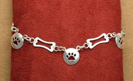 Custom Made Tie Chain With Paw Prints And Bone Silouhettes