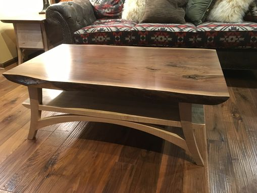 Custom Made Curly Maple And Walnut Live Edge Coffee Table