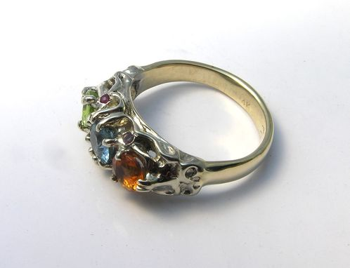 Custom Made Custom Designed Handmade Birthstone Ring Bi- Color Two Toned White And Yellow Gold