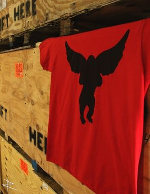 Custom Made American Apparel Flying Monkey Shirt In Red
