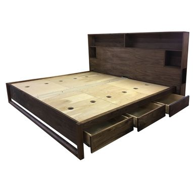 Custom Made Walnut Platform Storage Bed Eco Friendly And Non Toxic
