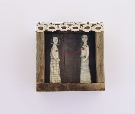 Custom Made Fiber Art Embroidered Barnwood Diorama -Connection