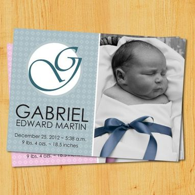 Custom Made Custom Birth Announcements - Monogram