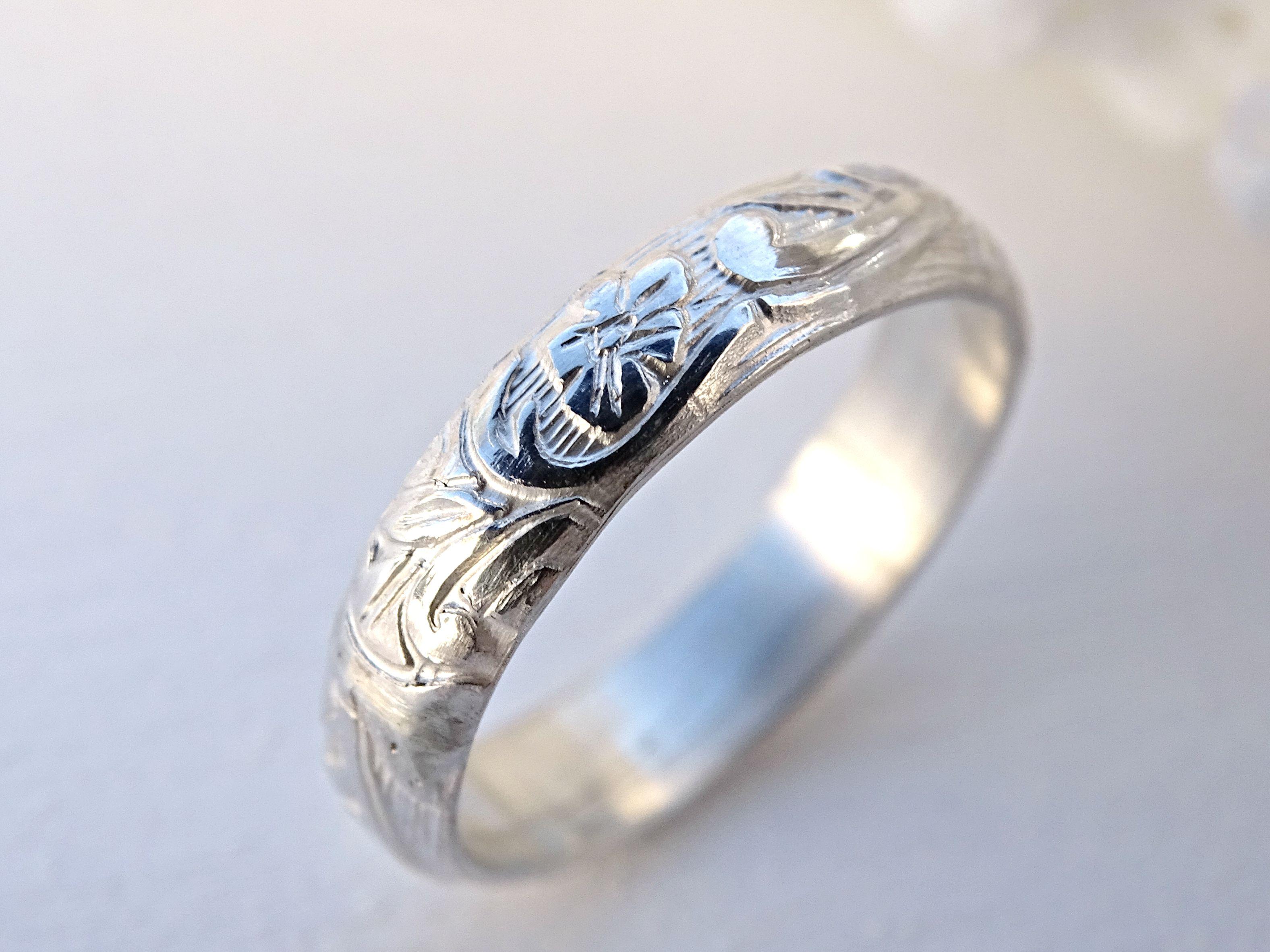 Custom Made Silver Flower Ring, Leaves Eternity Ring, Romantic Engagement  Ring