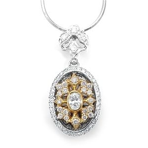 Custom Made Victorian Diamond Pendant In 14k 2 Tone, Diamond Oval Pendant