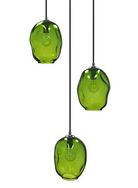 Custom Made Dark Lime River Rock Cluster Pendant Chandelier Hand Blown Glass